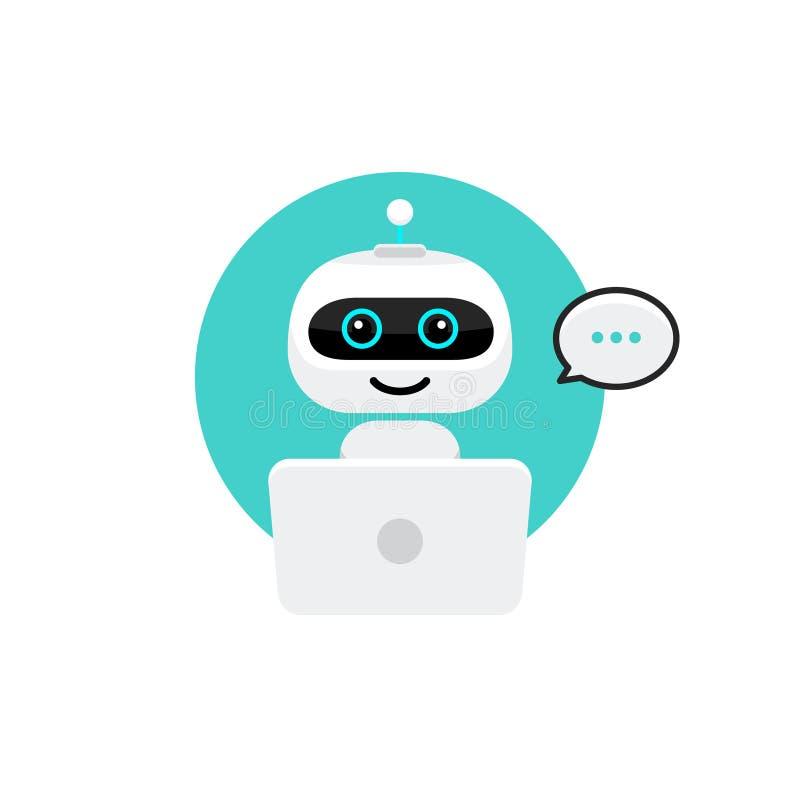 Icono del robot Muestra del Bot de la charla para el concepto del servicio de asistencia Estilo plano del carácter de Chatbot ilustración del vector