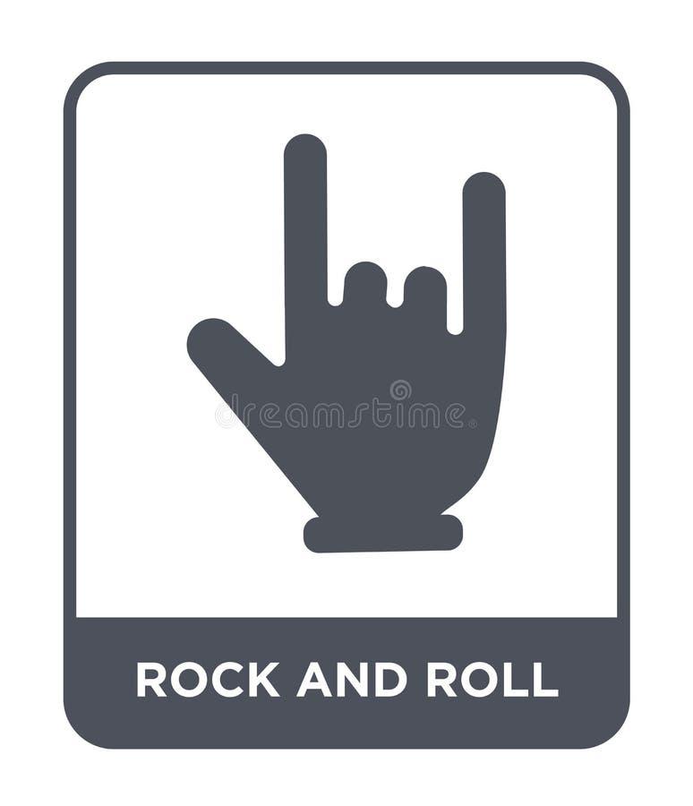 icono del rock-and-roll en estilo de moda del diseño icono del rock-and-roll aislado en el fondo blanco icono del vector del rock stock de ilustración