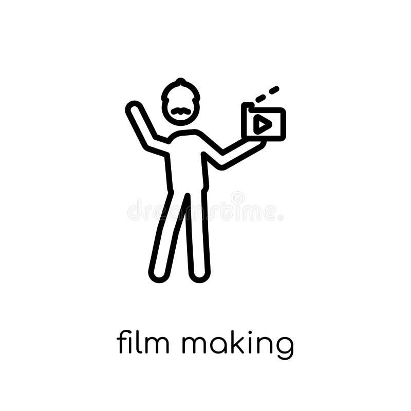 Icono del rodaje de películas Rodaje de películas linear plano moderno de moda del vector i stock de ilustración