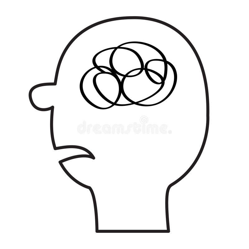Icono del rostro humano Línea negra silueta Enmarañamiento del garabato en la cabeza dentro del cerebro Concepto de la salud ment stock de ilustración