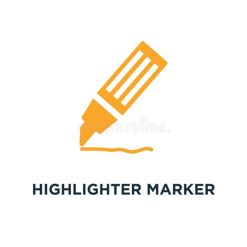 icono del rotulador del highlighter symb del concepto del rotulador del highlighter ilustración del vector
