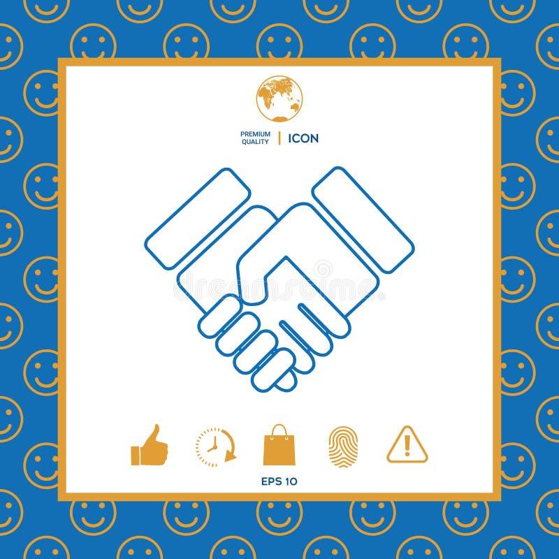 Icono del símbolo del apretón de manos stock de ilustración