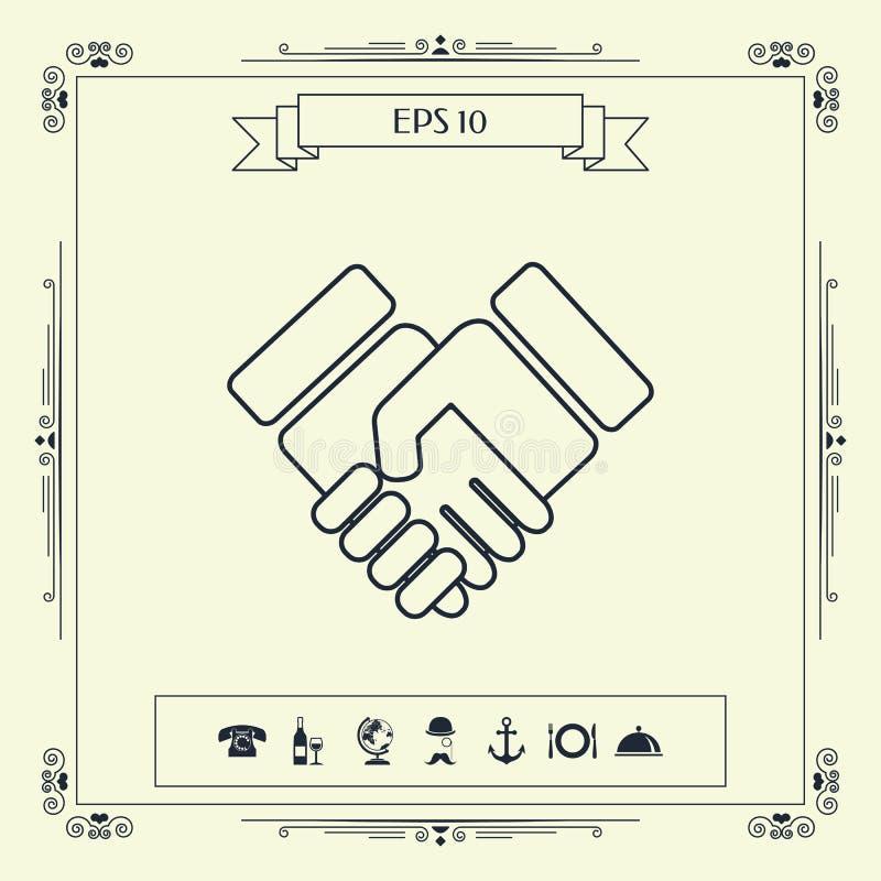Icono del símbolo del apretón de manos ilustración del vector