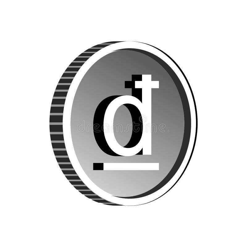 Icono del símbolo de Dong Vietnam, estilo simple stock de ilustración
