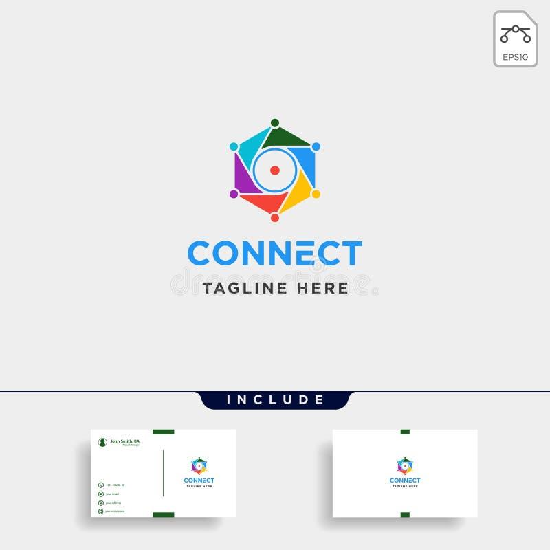 icono del símbolo de Internet de la cámara del vector del diseño del logotipo de la tecnología del hexágono de la lente ilustración del vector
