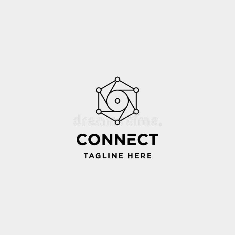 icono del símbolo de Internet de la cámara del vector del diseño del logotipo de la tecnología del hexágono de la lente stock de ilustración