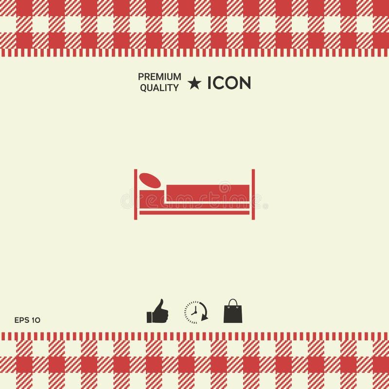 Icono del símbolo de la cama stock de ilustración