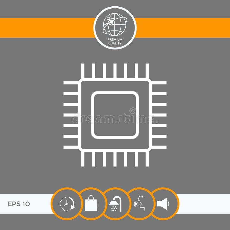 Icono del símbolo de la CPU ilustración del vector