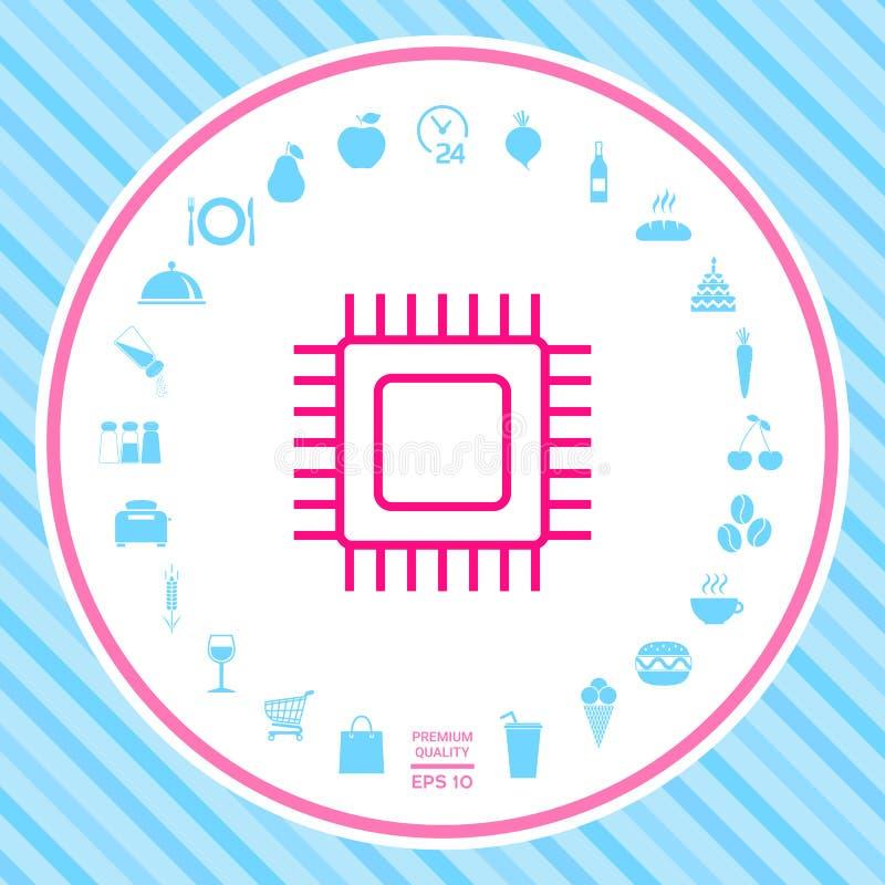 Icono del símbolo de la CPU stock de ilustración