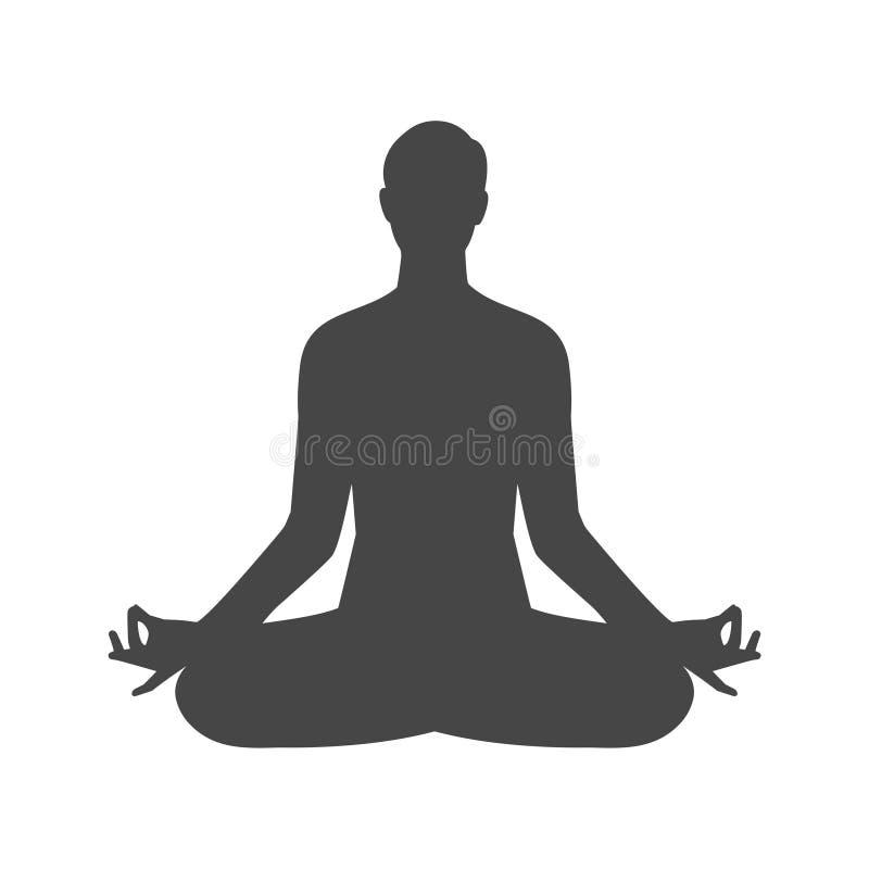 Icono del símbolo de la silueta del logotipo de la actitud del zen de la meditación de la yoga ilustración del vector