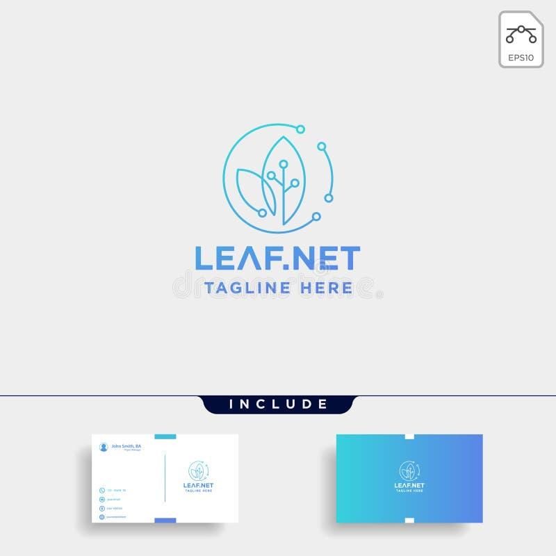 icono del símbolo de la tecnología de la naturaleza del diseño del logotipo de la tecnología del verde de la hoja ilustración del vector