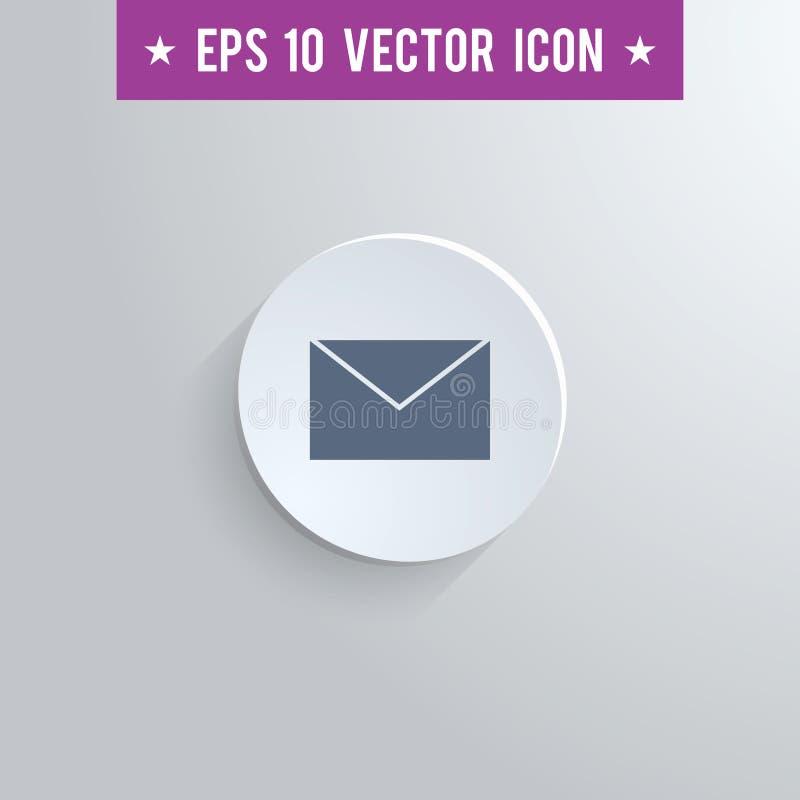Icono del símbolo del sobre del correo en fondo gris stock de ilustración
