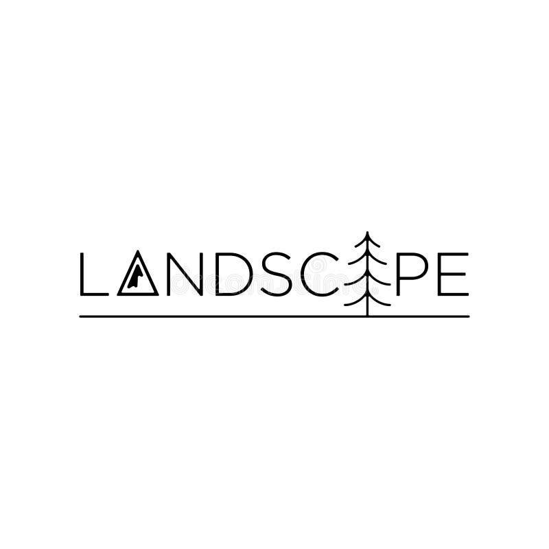 Icono del símbolo del diseño del vector del texto del logotipo del paisaje libre illustration