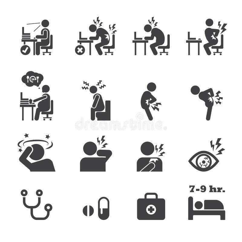 Icono del síndrome de la oficina stock de ilustración
