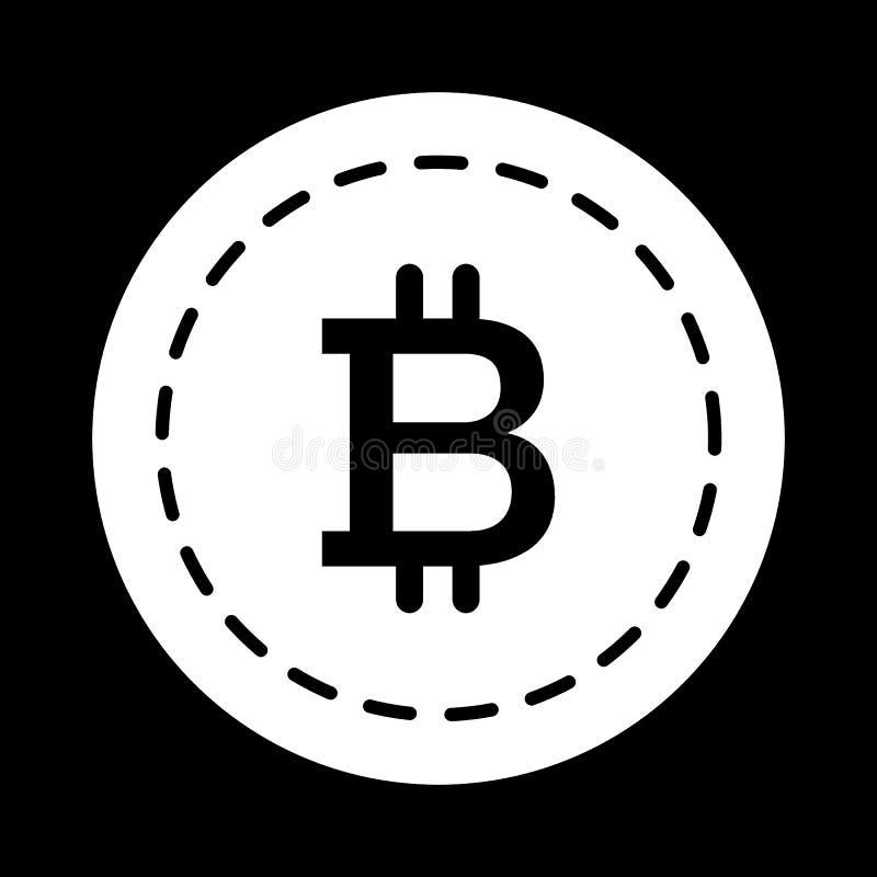 Icono del sólido de la moneda de Bitcoin Ejemplo del vector aislado en negro diseño del estilo del glyph, diseñado para el web y  ilustración del vector