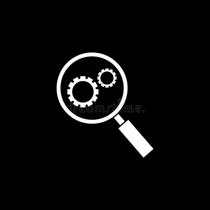Icono del sólido de la optimización de la investigación stock de ilustración