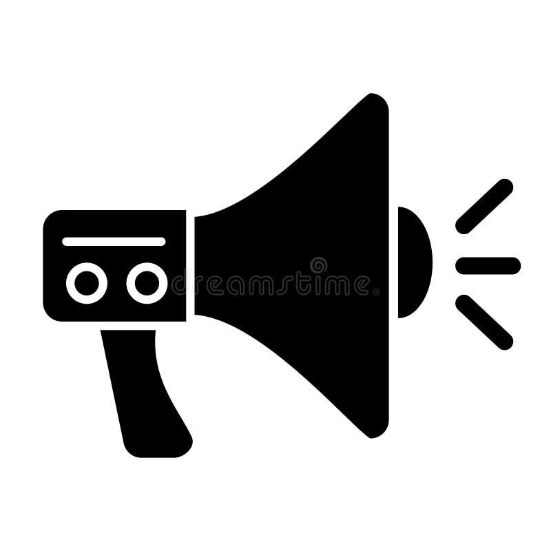 Icono del sólido del megáfono Ejemplo del Presidente aislado en blanco Diseño del estilo del glyph del oficial del altavoz, diseñ ilustración del vector