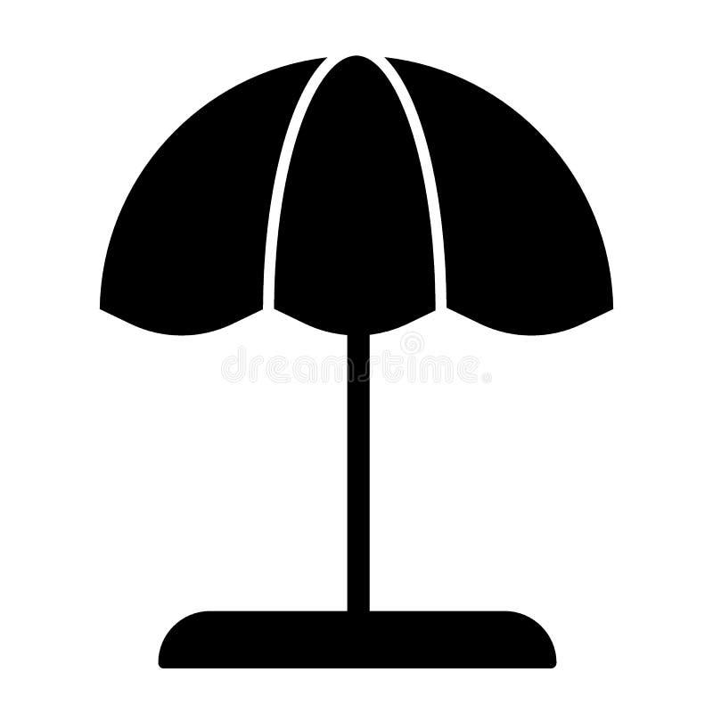 Icono del sólido del parasol de playa Ejemplo del vector del parasol aislado en blanco Diseño del estilo del glyph de la tarjeta  stock de ilustración