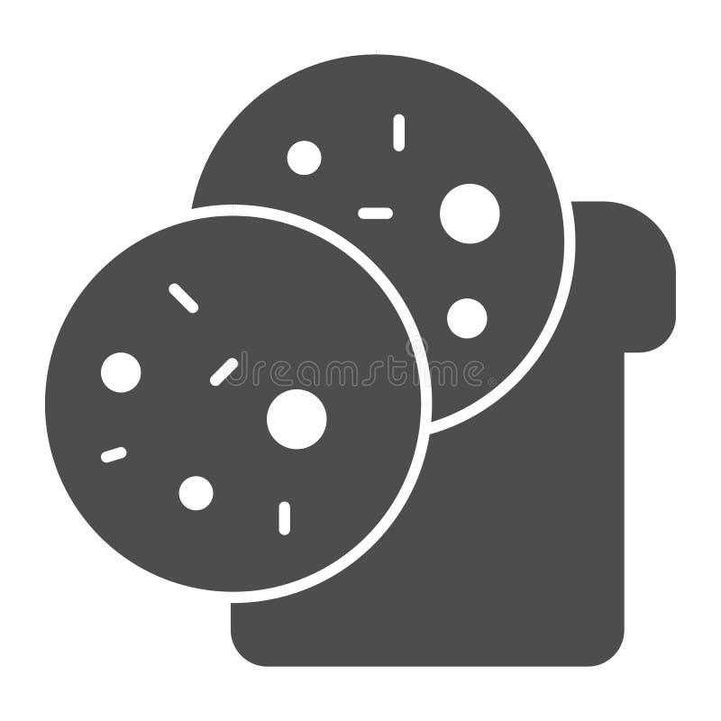 Icono del s?lido del bocadillo Ejemplo del vector del bocado aislado en blanco Diseño del estilo del glyph del pan y de la salchi stock de ilustración