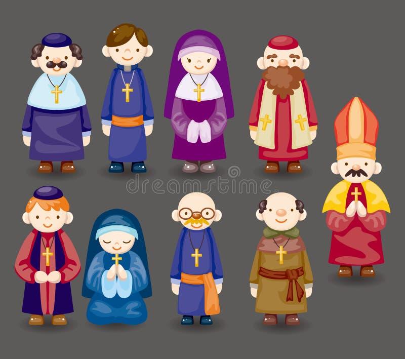 Icono del sacerdote de la historieta stock de ilustración