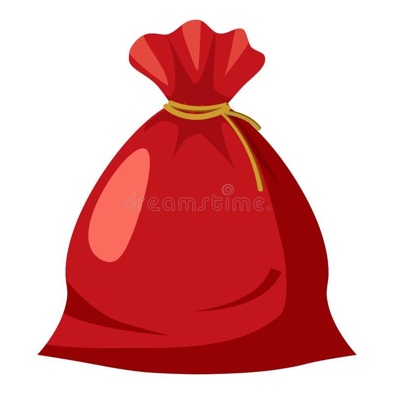 Icono del saco de Papá Noel, estilo de la historieta ilustración del vector