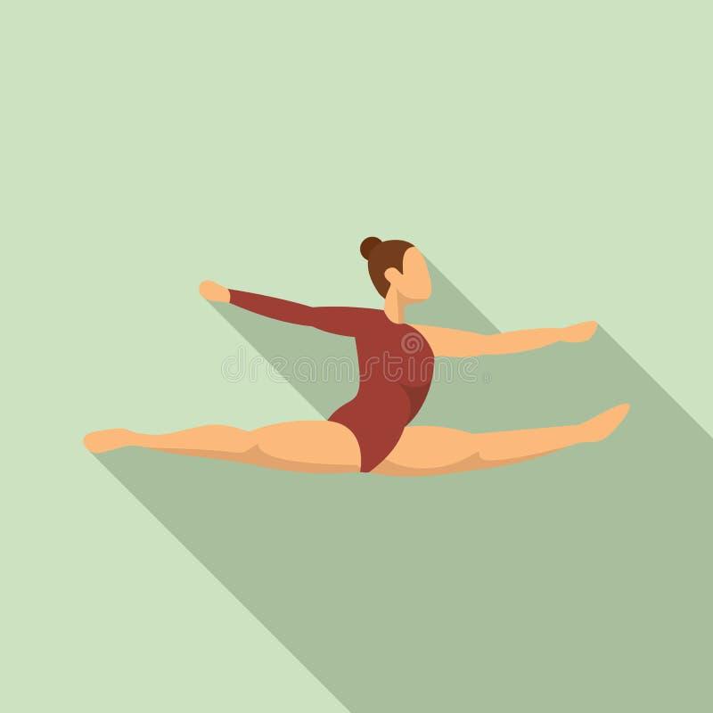 Icono del salto de la gimnasia de la muchacha, estilo plano ilustración del vector