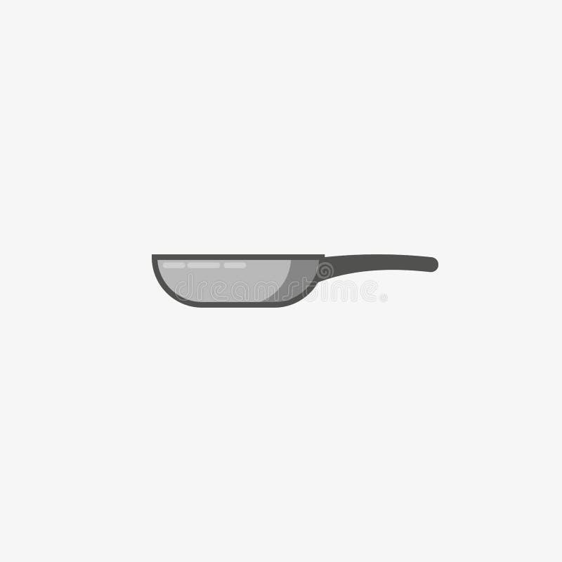 Icono del sartén Icono de la silueta del vector ejemplo del gris de la sartén Concepto del logotipo del sartén Cacerola que cocin ilustración del vector