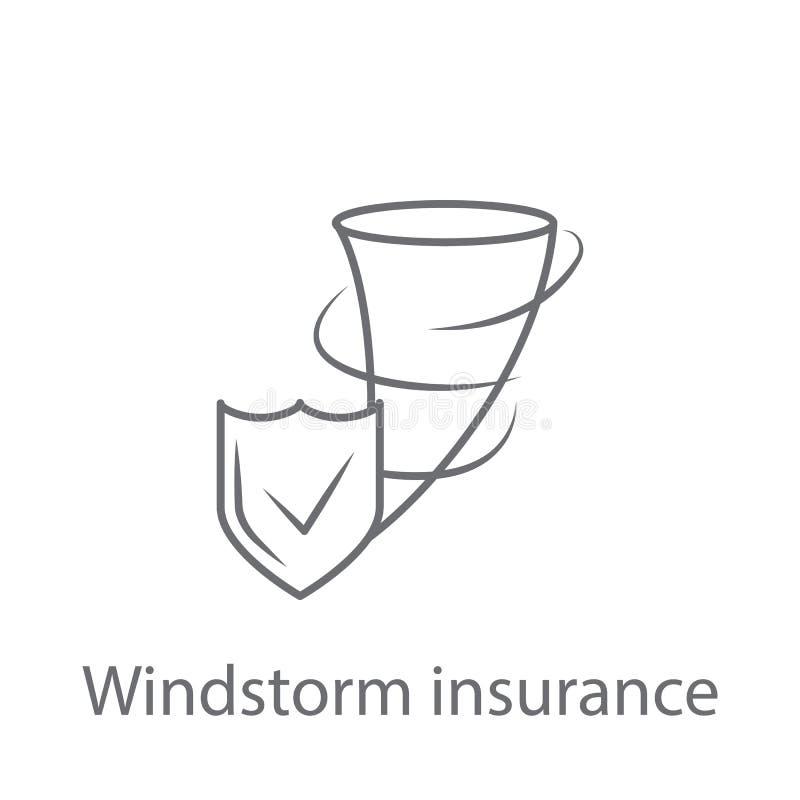 Icono del seguro de tormenta de viento Ejemplo simple del elemento Diseño del símbolo del seguro de tormenta de viento del sistem libre illustration