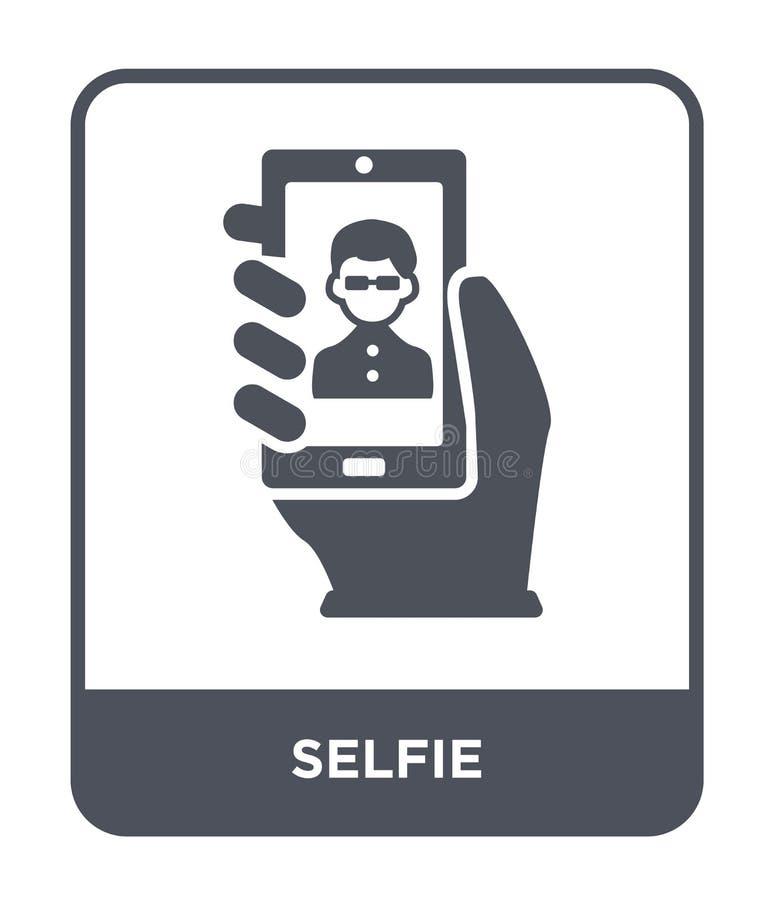icono del selfie en estilo de moda del diseño Icono de Selfie aislado en el fondo blanco símbolo plano simple y moderno del icono stock de ilustración