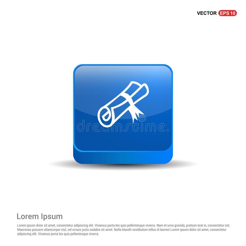 Icono del sello de la beca - botón del azul 3d ilustración del vector