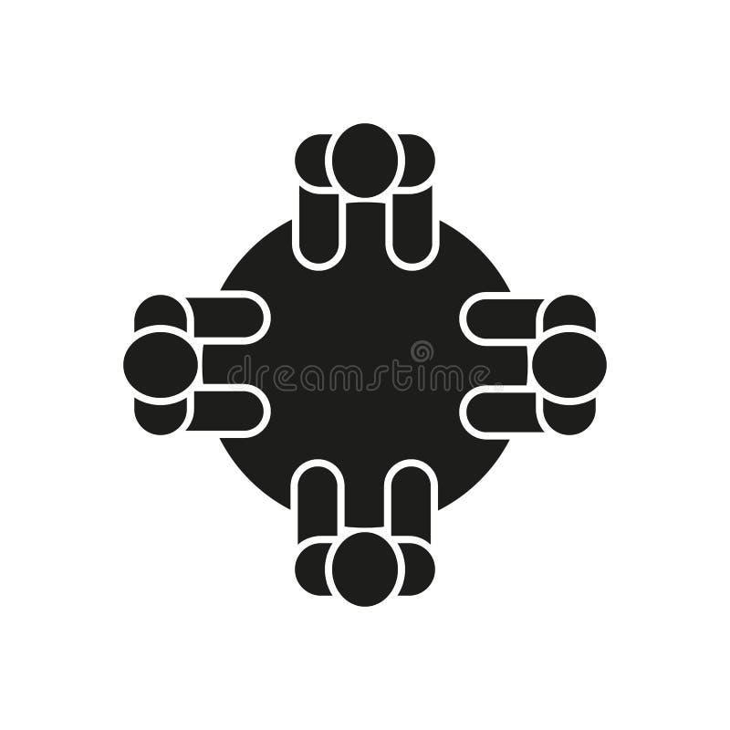 Icono del seminario Discusión y reunión, símbolo de la comunicación Dise?o plano Acci?n - ejemplo del vector fotos de archivo