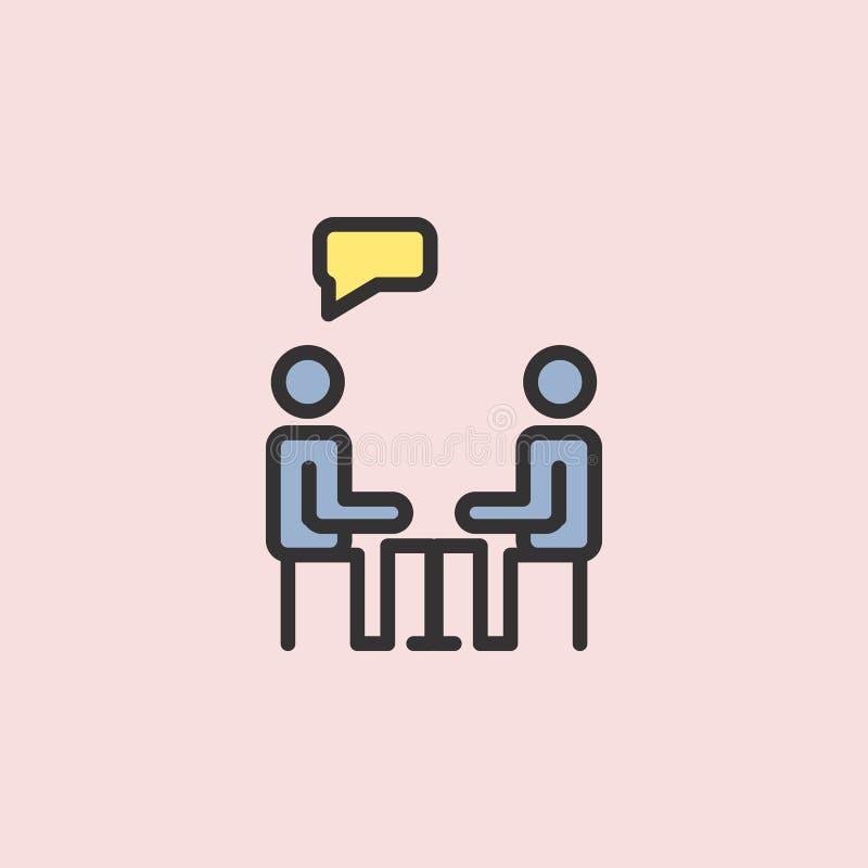 icono del ser humano del diálogo Elemento de la educación del color para el ejemplo móvil de los apps del concepto y del web Líne ilustración del vector