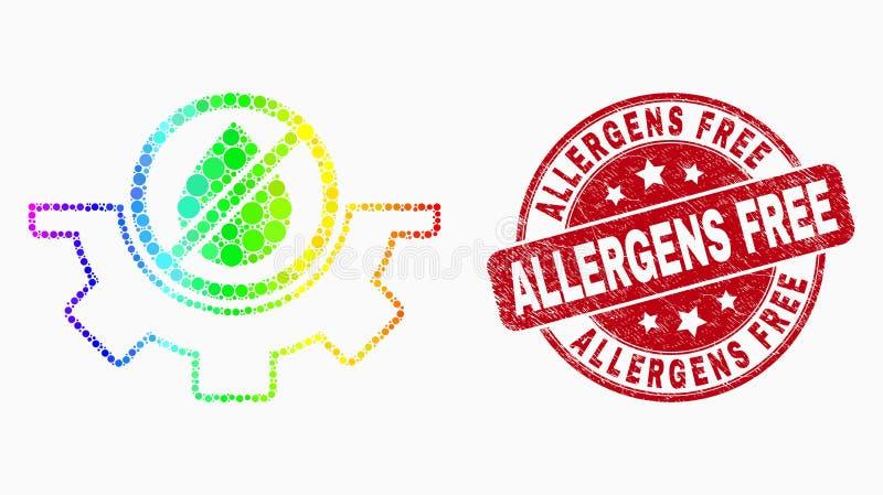 Icono del servicio del agua de Pixelated del espectro del vector y sello libre rasguñado de los alergénicos libre illustration