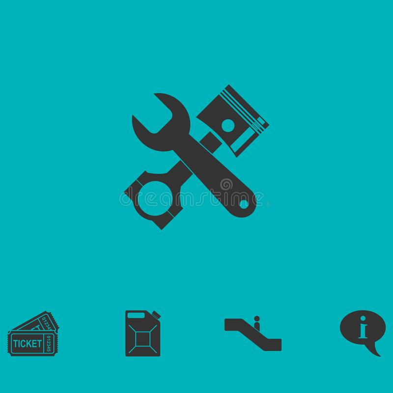 Icono del servicio del coche completamente ilustración del vector