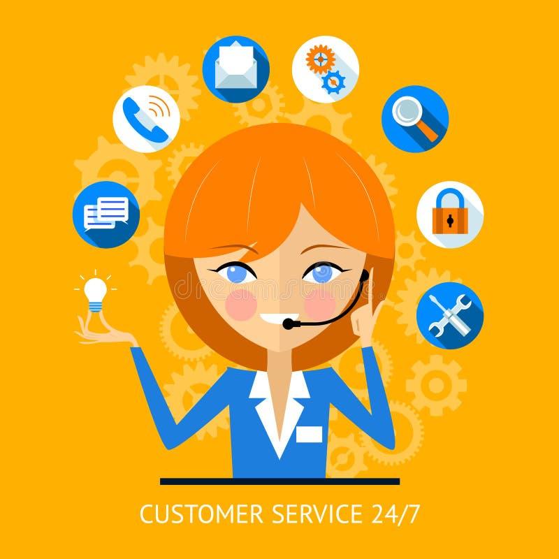 Icono del servicio de atención al cliente de una muchacha del centro de atención telefónica ilustración del vector