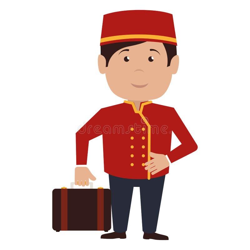 icono del servicio de hotel del carácter del botones stock de ilustración