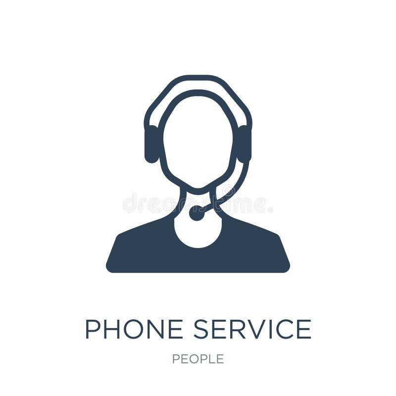 icono del servicio de teléfono en estilo de moda del diseño icono del servicio de teléfono aislado en el fondo blanco icono del v stock de ilustración