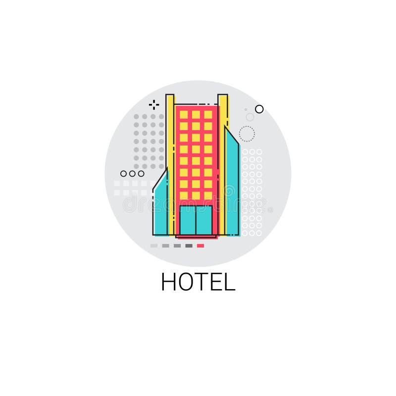 Icono del servicio del apartamento del edificio del hotel stock de ilustración
