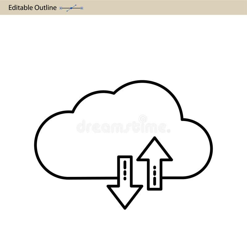 Icono del servidor de la nube, sincronización de la nube, segura, iconos de los servicios de la nube, Digitaces, esquema Editable ilustración del vector