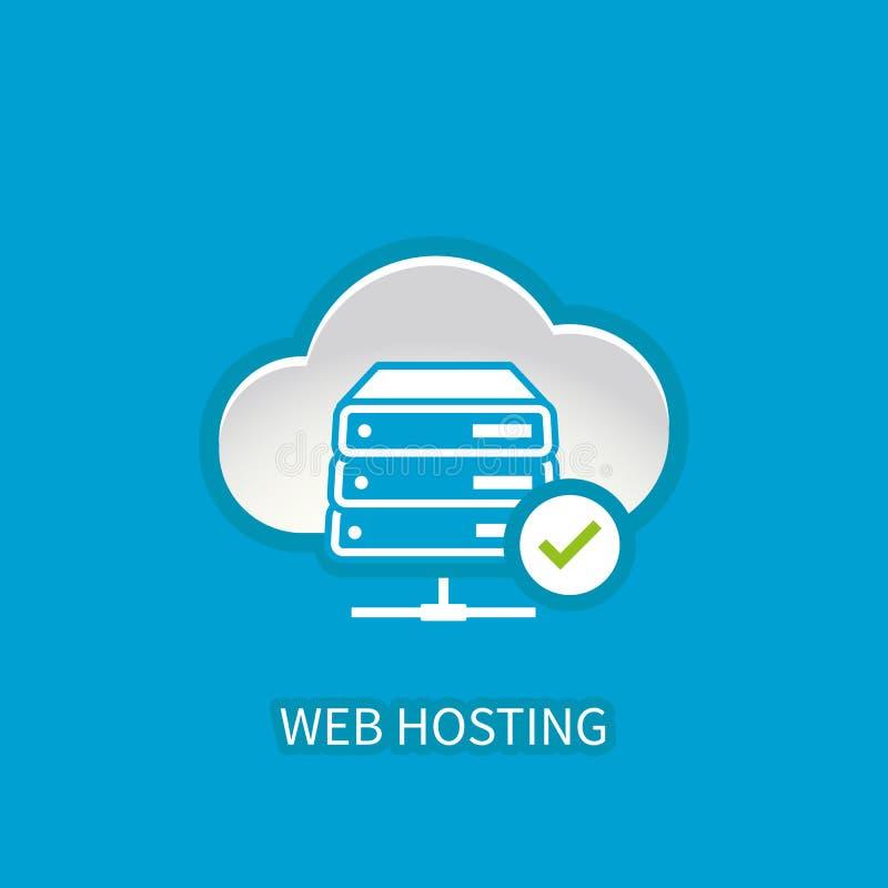 Icono del servidor del web hosting con el almacenamiento de la nube de Internet que computa el ne ilustración del vector