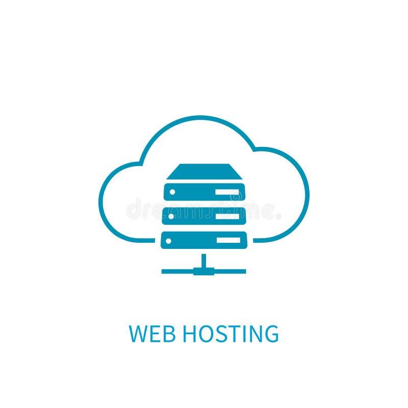 Icono del servidor del web hosting con el almacenamiento de la nube de Internet que computa el ne libre illustration