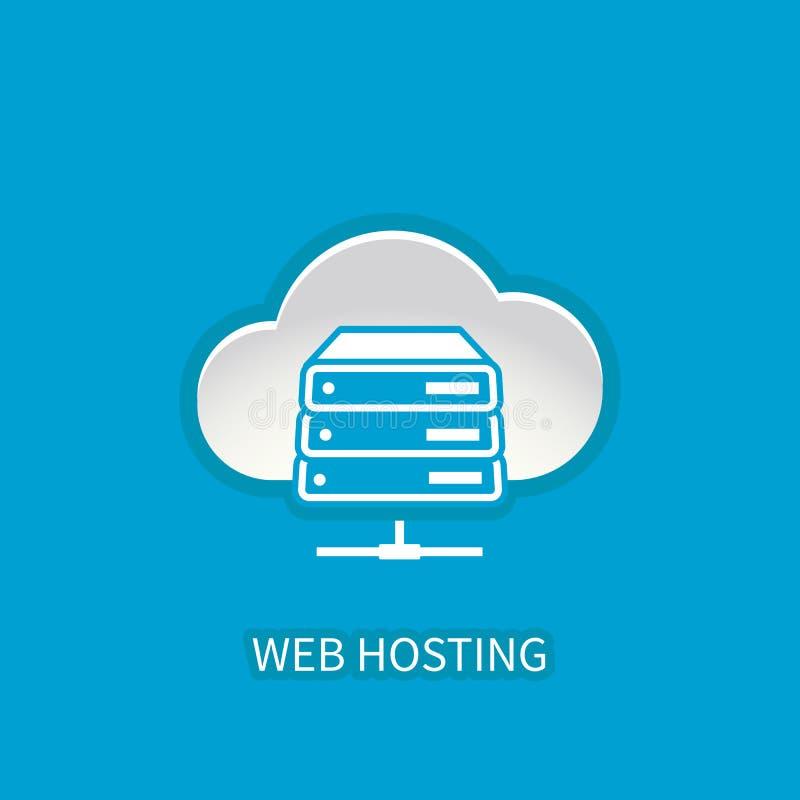 Icono del servidor del web hosting con la computación del almacenamiento de la nube de Internet fotografía de archivo