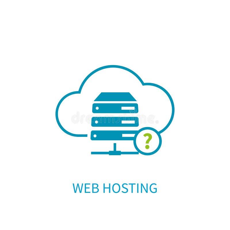 Icono del servidor del web hosting con la computación del almacenamiento de la nube de Internet ilustración del vector