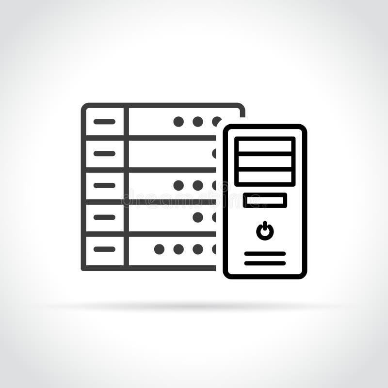 Icono del servidor en el fondo blanco stock de ilustración