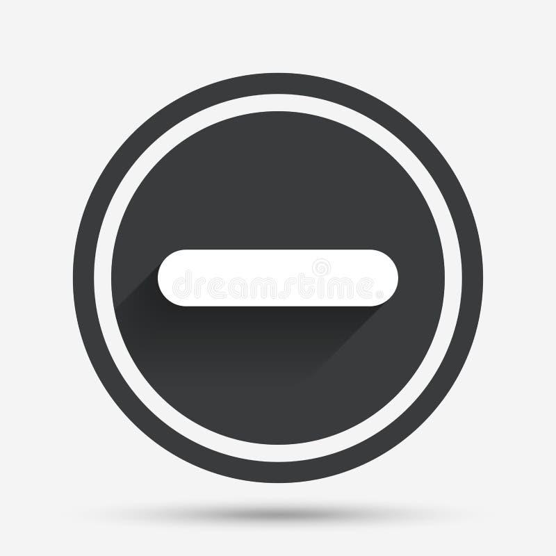 Icono del signo de menos Símbolo negativo ilustración del vector