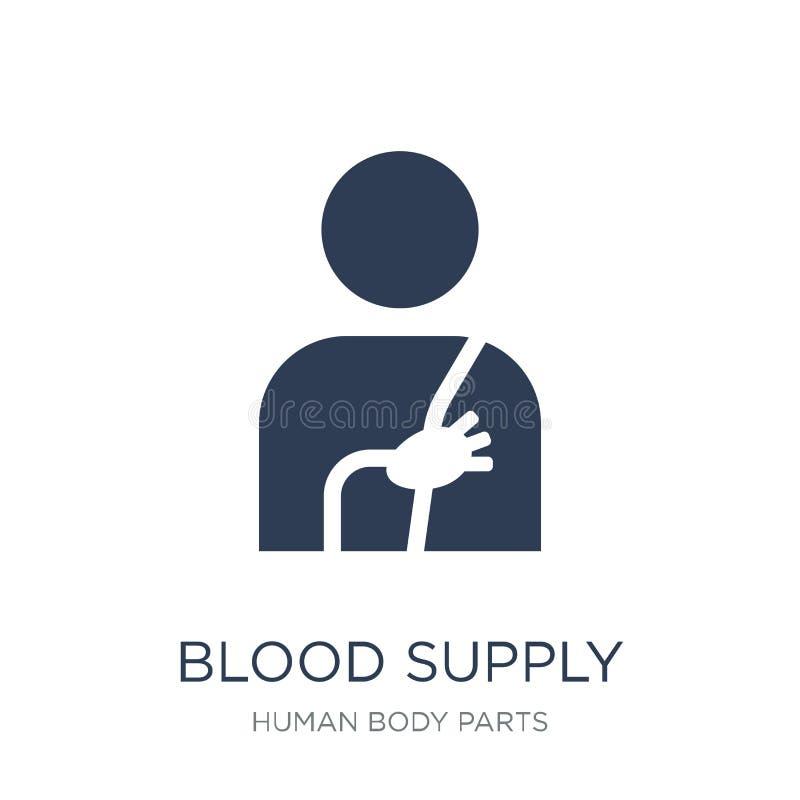 Icono del sistema de abastecimiento de la sangre Sistema de abastecimiento plano de moda de la sangre del vector stock de ilustración