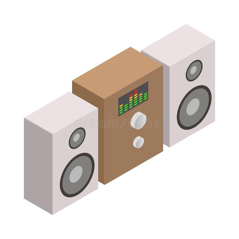 Icono del sistema de sonido, estilo isométrico 3d ilustración del vector