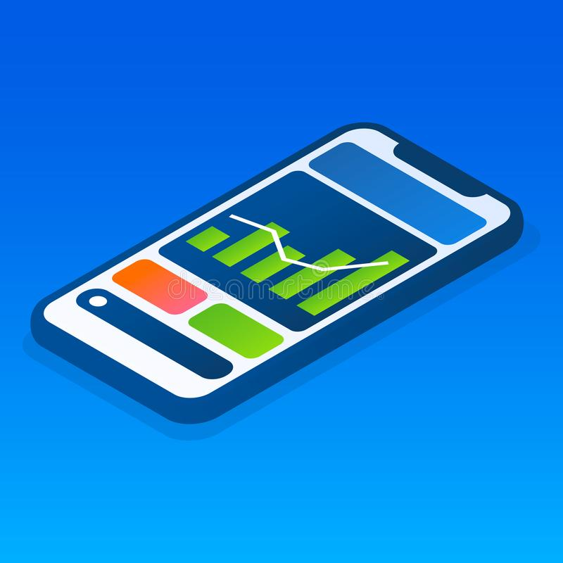 Icono del smartphone del gráfico de las finanzas, estilo isométrico stock de ilustración