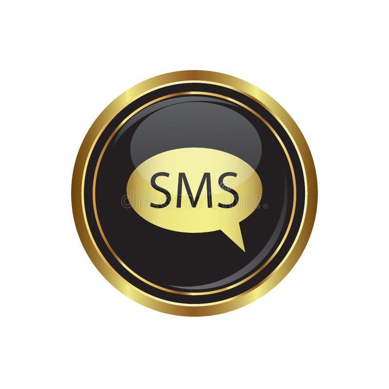 Icono del SMS en el botón ilustración del vector