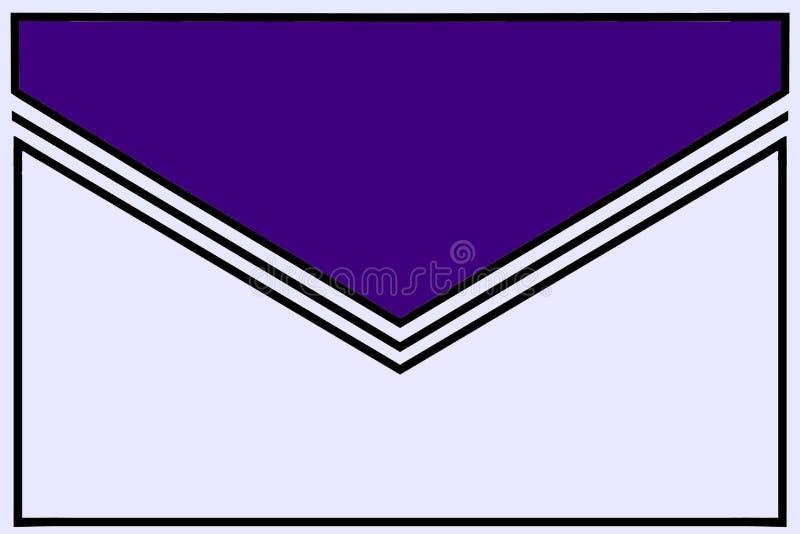 Icono del sobre: azul real con el doblez blanco y negro de la goma y las fronteras blancas libre illustration